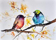 ORIGINAL Watercolor Painting Colorful Birds With von ArtCornerShop