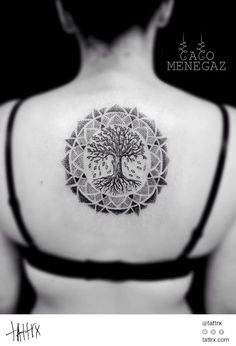 Classic Dotwork Tree Of Life Tattoo On Girl Upper Back