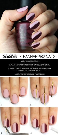 Our Blush and Burgundy Striped Nail Tutorial is a must-try for fall! Check out the tutorial on the blog now!