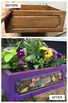 Cool DIY Projects - Old Drawer Becomes a Planter Cool DIY Projects - How to Make Planters from Old Drawers Before & After Garden Boxes, Garden Planters, Porch Planter, Fall Planters, Repurposed Furniture, Garden Furniture, Painted Furniture, Furniture Stores, Furniture Refinishing