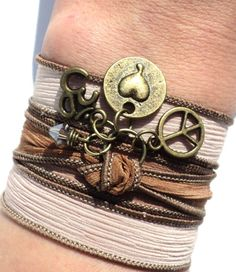 Peace Love Silk Wrap Bracelet Yoga Jewelry Om Bohemian Hippie Fall Unique Valentines Day Gift For Her Under 30 Item P64