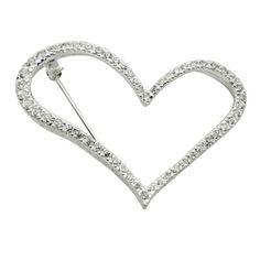 Sterling Silver Simulated Diamond Open Heart Pin -- Additional info @ http://www.amazon.com/gp/product/B00HASQWAC/?tag=ilikeboutique09-20&za=160716033659