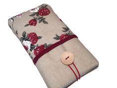 Housse iPhone 6s tissu roses , Etui iPhone 6s Plus , Poche lin Galaxy Note , Pochette Tissu Téléphone Portable : Etuis portables par driworks
