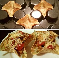 "Taco Bowls - use a low carb wrap for Atkins or low carb diet. Gives the ""fix"" you think your mind needs."