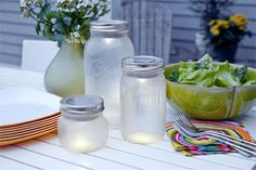 How to make mason jar patio lights from supplies you can pick up at the home center.