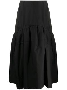 $495.0. 3.1 PHILLIP LIM C Klassischer Midirock #31philliplim # #clothing Black Midi Skirt, Rock, 3.1 Phillip Lim, Black Cotton, Women Wear, My Style, Mid Length, Skirts, Fashion Design