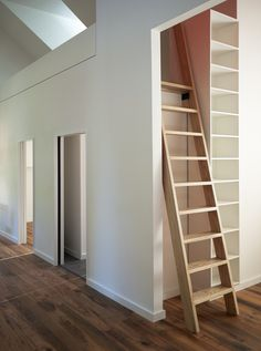 This is totally like the ladder I was picturing for the loft. Next to shelves in the hall Attic Renovation, Attic Remodel, Floor Design, House Design, Stair Ladder, Prefab Homes, Attic Rooms, Attic House, Attic Playroom