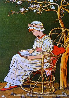 Regency girl reading - though I think Jemima would be climbing the tree to find a reading spot away from William! Kate Greenaway print