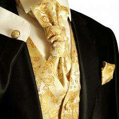 Gold Paisley Tuxedo Vest Sets , Mens Vests , Wedding Vests for Men