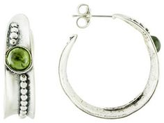 Artisan Collection Of Israel(Tm) Round Cabochon Peridot Sterling Silver Hoop Earrings Web Only