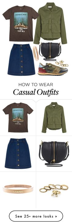 """tee+denim=casual"" by roxanna-kingston on Polyvore featuring The Great, Oasis, Valentino, Rebecca Minkoff, Chanel and Gogreen"