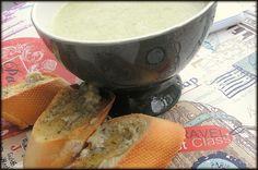 Broccoli cream soup with garlic bread!