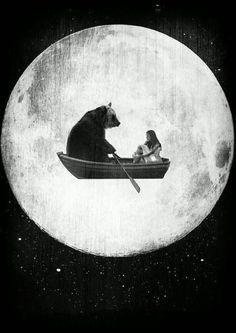 orso in barca volante :D #travelart #illustrazioni #buonanotte