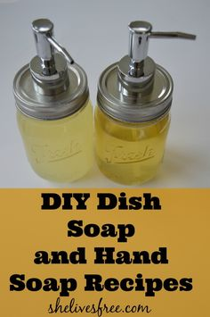 DIY Dish soap and hand soap recipes Homemade Cleaning Products, Cleaning Recipes, Natural Cleaning Products, Cleaning Tips, Natural Products, Natural Soaps, Household Products, Bath Products, Household Tips