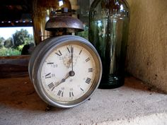 Vintage FRENCH Alarm Clock Victorian Style 1920s / 30s era Roman Numerals Ornament / Prop - from TranquiliteFrance in Salles, Aquitaine, France - I love old clocks whether they work or not! This is a great piece.