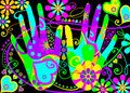 Stylised hippie hands Stock Photos