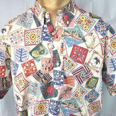 Reyn Spooner USA Patriot 1999 Hawaiian Shirt XL Pullover Reverse Pattern Quilt #ReynSpooner #Hawaiian