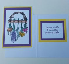 Flowers & Friends Take Time To Grow     Handmade Friendship Greeting Cards by DebsDooDadsShop on Etsy