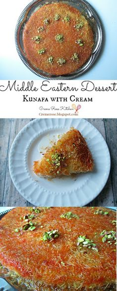 Middle Eastern Dessert: Kunafa With Cream Best Picture For easy Arabic sweets For Y Armenian Recipes, Lebanese Recipes, Jewish Recipes, Greek Recipes, Indian Food Recipes, Ethnic Recipes, Arabic Recipes, Lebanese Cuisine, Middle East Food