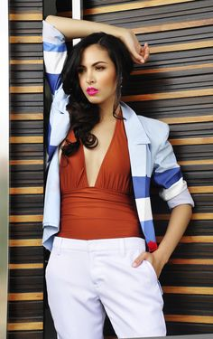 Alex Lapa styling Maggie Wilson - Wanderlust Swimwear, Kim Gan blazer and shorts