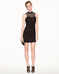Ottoman & Lace Illusion Cocktail Dress - A lace, illusion neckline provides a seductive edge to this body-hugging cocktail dress.