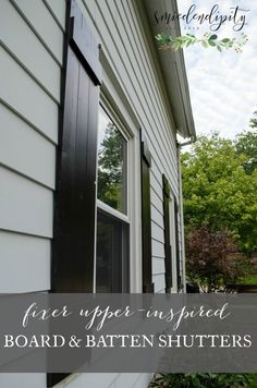 Take a look our tutorial on how we replaced our skinny, beat up old aluminum shutters with beautiful DIY pine board and batten beauties! Outdoor Shutters, Cedar Shutters, Farmhouse Shutters, White Shutters, Wood Shutters, Window Shutters, Farmhouse Plans, Homes With Shutters, Modern Farmhouse