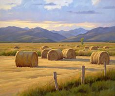 """Nyugat-Bales"" Michael Griffin Oil 24 ""x Watercolor Landscape, Landscape Art, Landscape Paintings, Watercolor Paintings, Farm Paintings, Italy Landscape, Fields Of Gold, Hay Bales, Art Sketchbook"