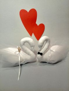 Pair of swans Valentines day gift Gift for the от HandmadeToyStore