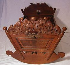 antique hand carved cradle ... ca. 1650