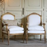 One of a Kind Vintage Armchair Arched Gold Gilt Set of 2 FEAV4206