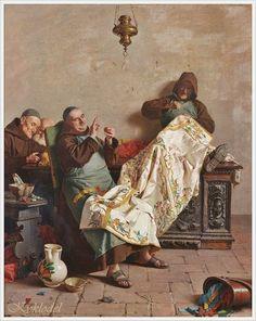 Orfeo Orfei (italien 1836-1915) «La nappe de l'autel» !
