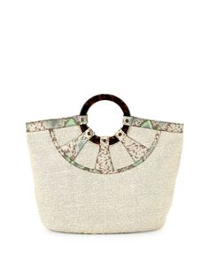 Raffia Havana-handle Tote Bag, Ecru/Mint - Get this bag for 57% OFF! #sale #discount #deals #bag #women