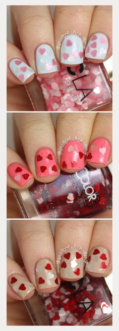 glitter heart nails for valentines day! Valentine's Day Nail Designs, Holiday Nail Designs, Holiday Nails, Christmas Nails, Acrylic Nails, Gel Nails, Manicure, Acrylics, Winter Nails