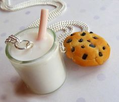 Fimo - polymer clay chocolate chip cookie and milk best friend necklaces friendship necklaces bff
