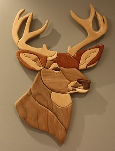 Cherry & Mahogany Deer Intarsia by ElkashaArts on Etsy, $80.00