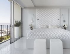 White bedroom paint colors are one of the neutral colors that are best suited for narrow spaces. The idea of an all-white bedroom in the picture above is equipped with a large window. So that the all-white bedroom above looks brighter and more spacious. White Bedroom Design, White Bedroom Decor, White Bedroom Furniture, Bedroom Ideas, Bedroom Designs, Bedroom Inspiration, White Decor, Furniture Sets, Bedroom Photos