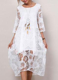 c51404d8c70e Linne Vanligt Långärmad Maxi Klänningar. Visa mer. Dress - $46.34 - Cotton  Solid Lace 3/4 Sleeves Midi Dress (1955189441)