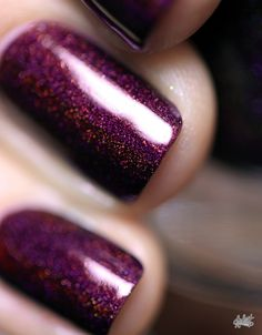 Black Orchid - Deep Burgundy / Plum Vampy Holographic Nail Polish by ILNP Love Nails, How To Do Nails, Pretty Nails, Fun Nails, Acrillic Nails, Talon Nails, 5sos Nails, Mani Pedi, Manicure And Pedicure
