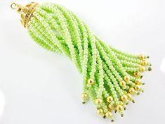 Long Fresh Green Beaded Tassel  22k Matte Gold by LylaSupplies, $10.00