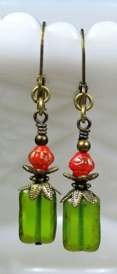 Unique Peridot Green and Red/Orange Czech Glass Beaded Dangle Earrings, Czech Earrings, Bohemian Boho inspired jewelry. BUY YOUR PAIR TODAY!