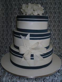 Gorgeous three tier wedding cake with sugar paste hydrangeas..http://www.hbweddings.co.nz/all-listings/Cakes%20/console/cindy-s-cakes.html