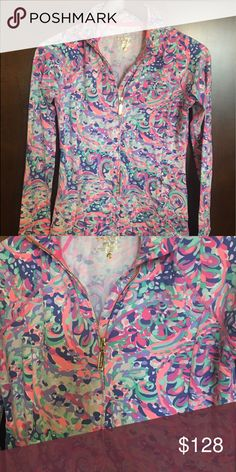 Lilly Pulitzer Serena Jacket Worn once. In La Playa print.  Size xs.  Gold zipper. Great jacket! Purchased new for $138. Lilly Pulitzer Tops