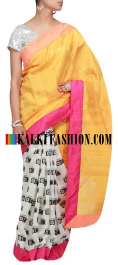 Buy it now  http://www.kalkifashion.com/half-and-half-masaba-saree-with-camera-print.html Half and half masaba saree with camera print