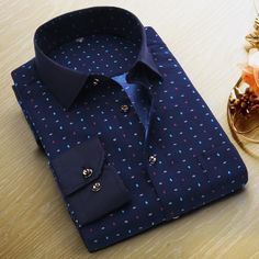 Summer New Mens Casual Shirts Fashion Long Sleeve Brand Printed Male Plus Size Formal Business Polka Dot Floral Men Dress Shirt - GKandAa - 8 Mens Blue Dress Shirt, Men Dress, Shirt Dress, Business Casual Men, Men Casual, Gents Shirts, Nigerian Men Fashion, Slim Fit Casual Shirts, Cheap Mens Fashion