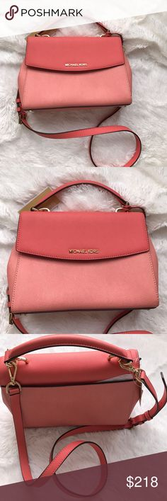 Michael Kors Ava Peach Crossbody Satchel NWT. Beautiful peach two tone Satchel. Additional pocket at back and inside with buttons at sides to make purse thinner. Removable shoulder strap with gold hardware. Dust bag included. MICHAEL Michael Kors Bags Crossbody Bags