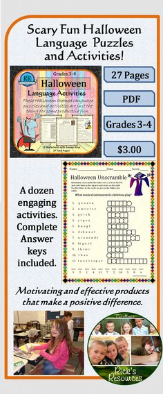 These activities are a great way to keep kids productive and motivated around Halloween. Activities include reading a story and answering questions, word search, unscrambling letters, finding mystery words, ABC order, story writing, finding misspelled words, breaking codes, unscrambling words, word shapes, solving puzzles. Not only are these activities fun, but students will be reviewing and reinforcing core language concepts and skills. Great for centers, groups, class, or individuals. 27…
