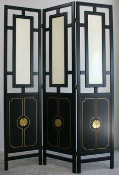 View this item and discover similar for sale at - Two Hollywood Regency folding wood screens with brass details. Cool Furniture, Modern Furniture, Antique Furniture, Estilo Hollywood Regency, Beautiful Interior Design, Luxury Decor, Candle Sconces, Accent Decor, Contemporary