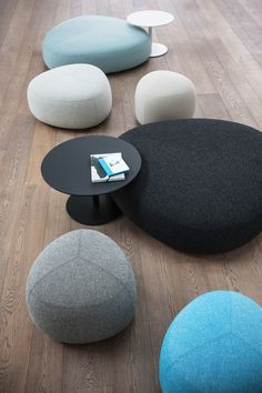 Kipu Ottomans On Wood Floor, X In Black And Cloud Blue With Brio Low  Tables, Also From LaPalma