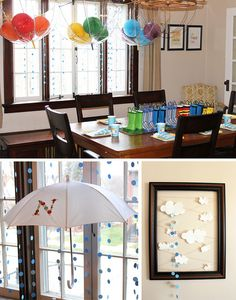 April Showers party theme: oh.my.gosh LOVE the details...rainbow balloons in clear hanging umbrellas, button monogram umbrella, raindrop paper garlands, rainboot table centerpiece