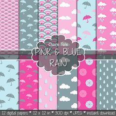 Hey, I found this really awesome Etsy listing at https://www.etsy.com/listing/185518025/rain-digital-paper-pink-blue-rainy-day